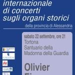 Sabato 22 settembre Concerto d'Organo in Santuario a Tortona