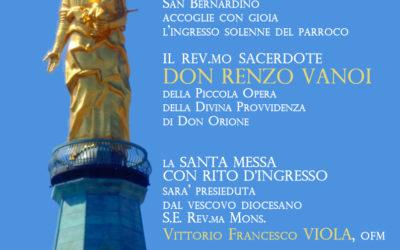 Santuario: Domenica 23 dicembre ore 10 ingresso del parroco don Renzo Vanoi presiede il vescovo Viola