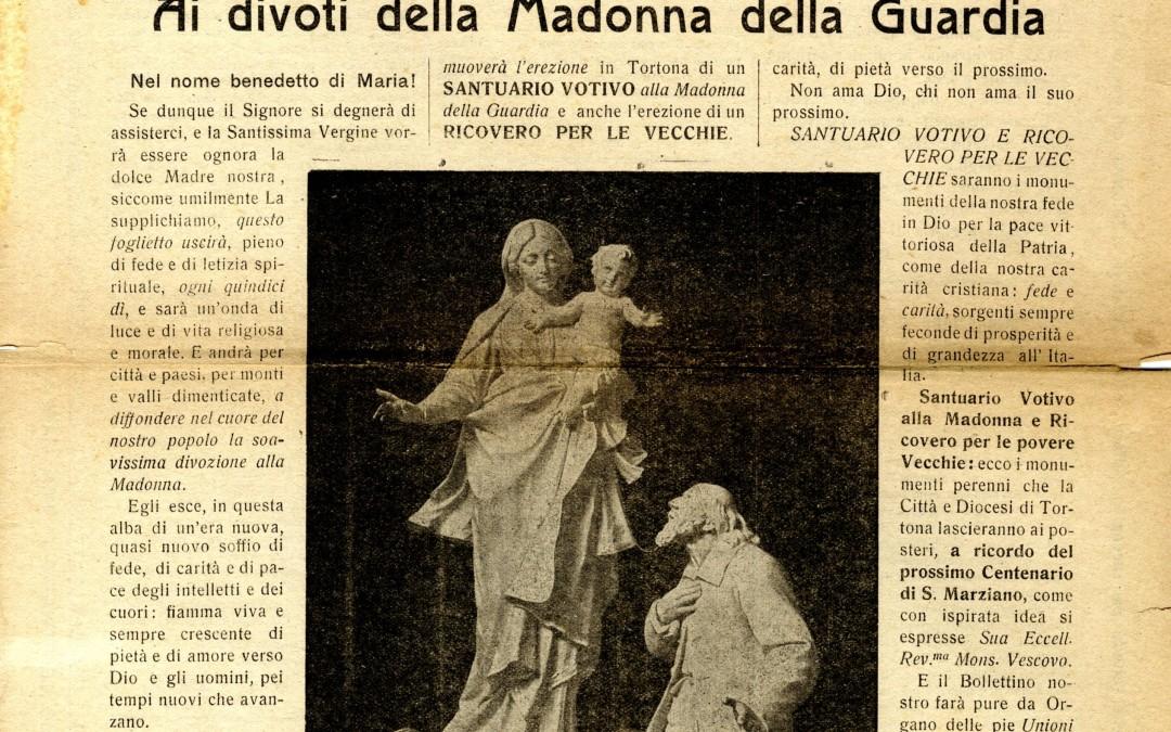 1 novembre 1918 – 2018 – cento anni Don Orione pubblicava il primo bollettino della Madonna della Guardia